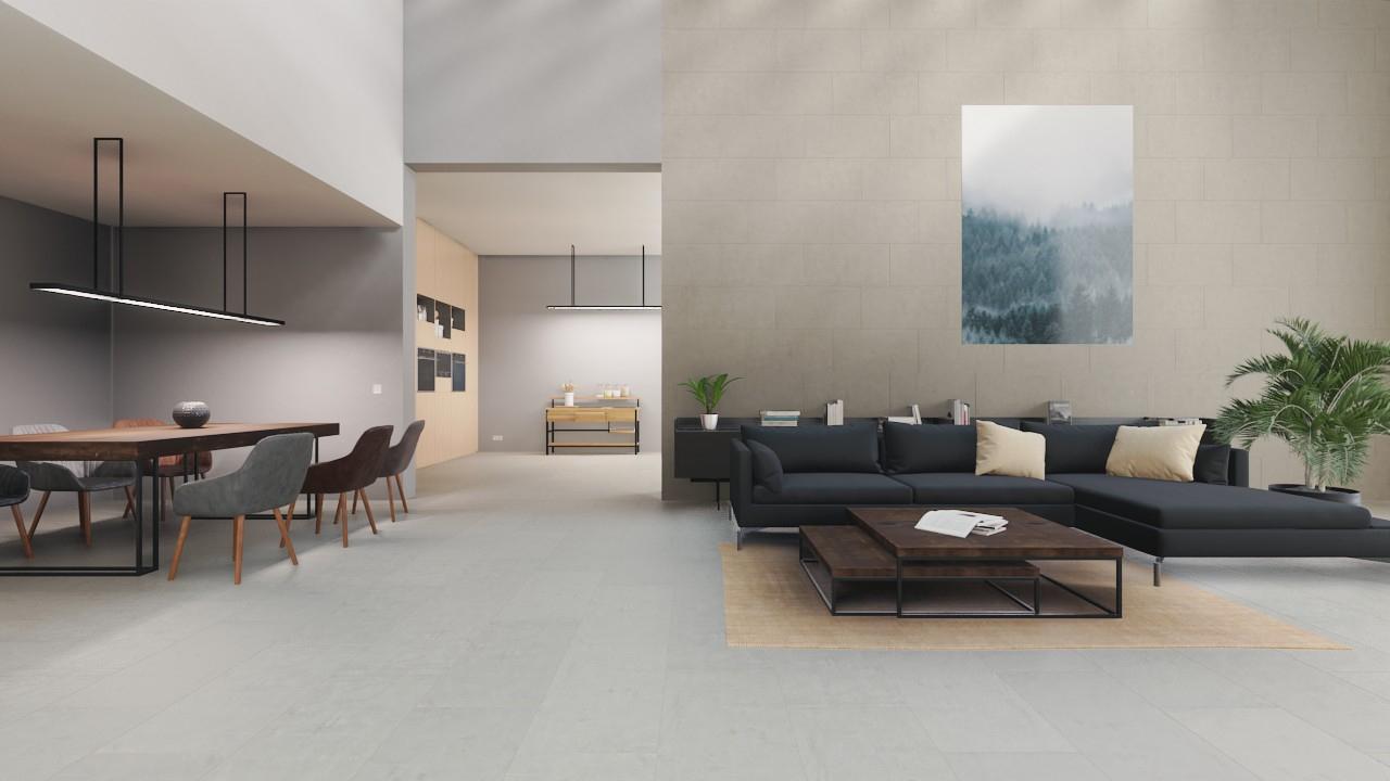 Boden- und Wandfliesen Grau Matt Bellagio Beton 40 x 80 cm Feinsteinzeug -  Interio