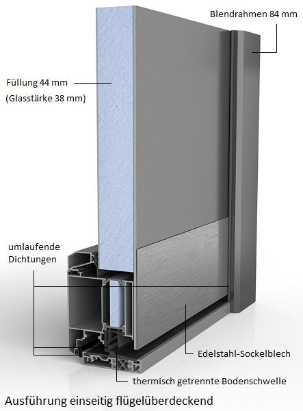 91010 Glatt Aluminium Haustür Ohne Glasausschnitt   Bayerwald   Querschnitt  1