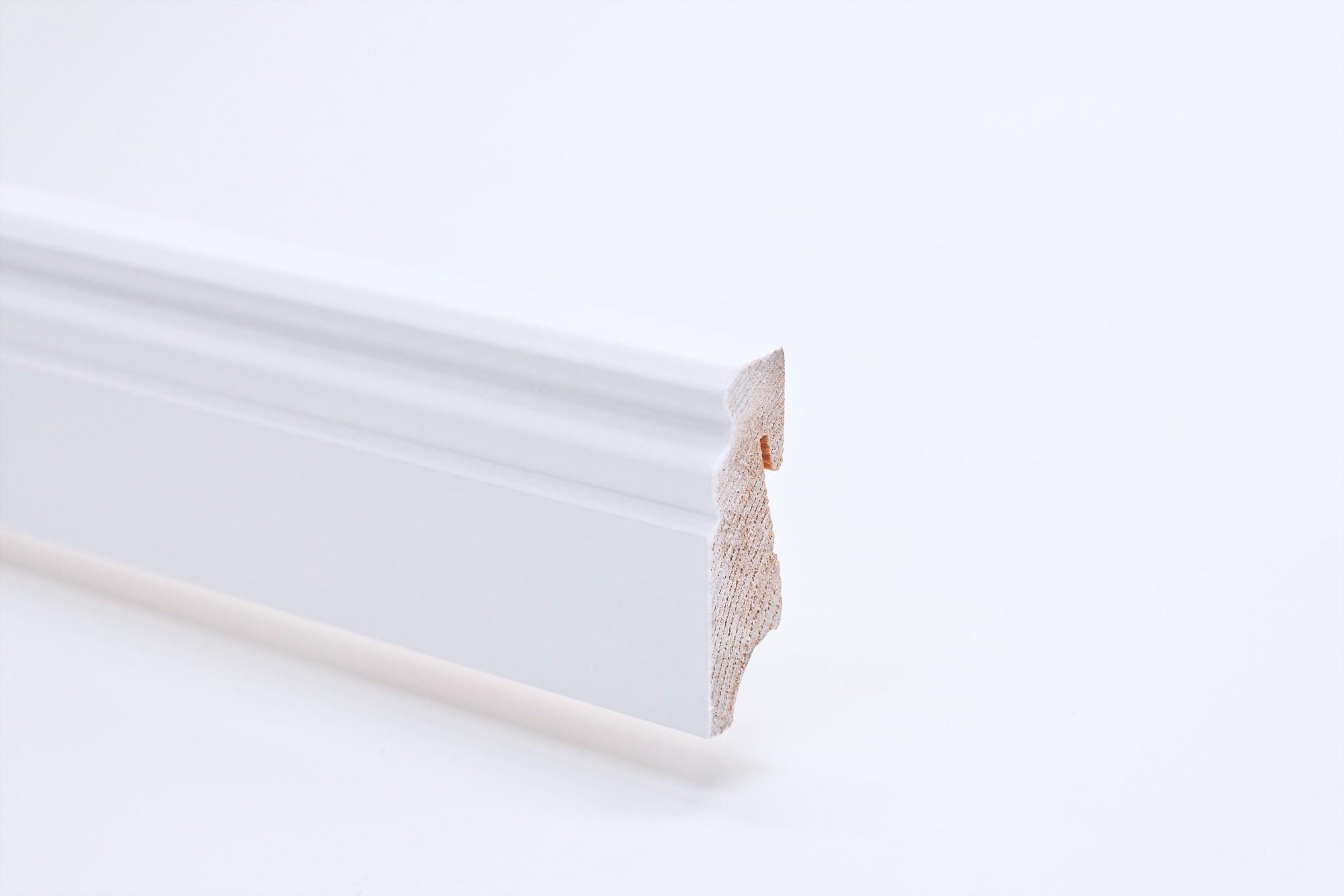 Sockelleiste (2400 x 18 x 58) Altdeutsch weiß lackiert Massivholz - Interio