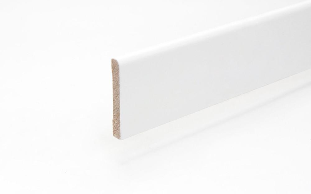 Sockelleiste 9,5 x 58 x 2440 mm MDF weiß oben rund Clip-Nut