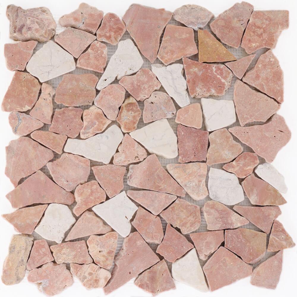 Natursteinmosaikfliesen Poly Rosso Verona - Biancone Matt für die Wand 30,5 x 30,5 cm - Interio