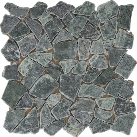 Natursteinmosaikfliesen Poly Verde Guatemala Matt 30,5 x 30,5 cm - Interio