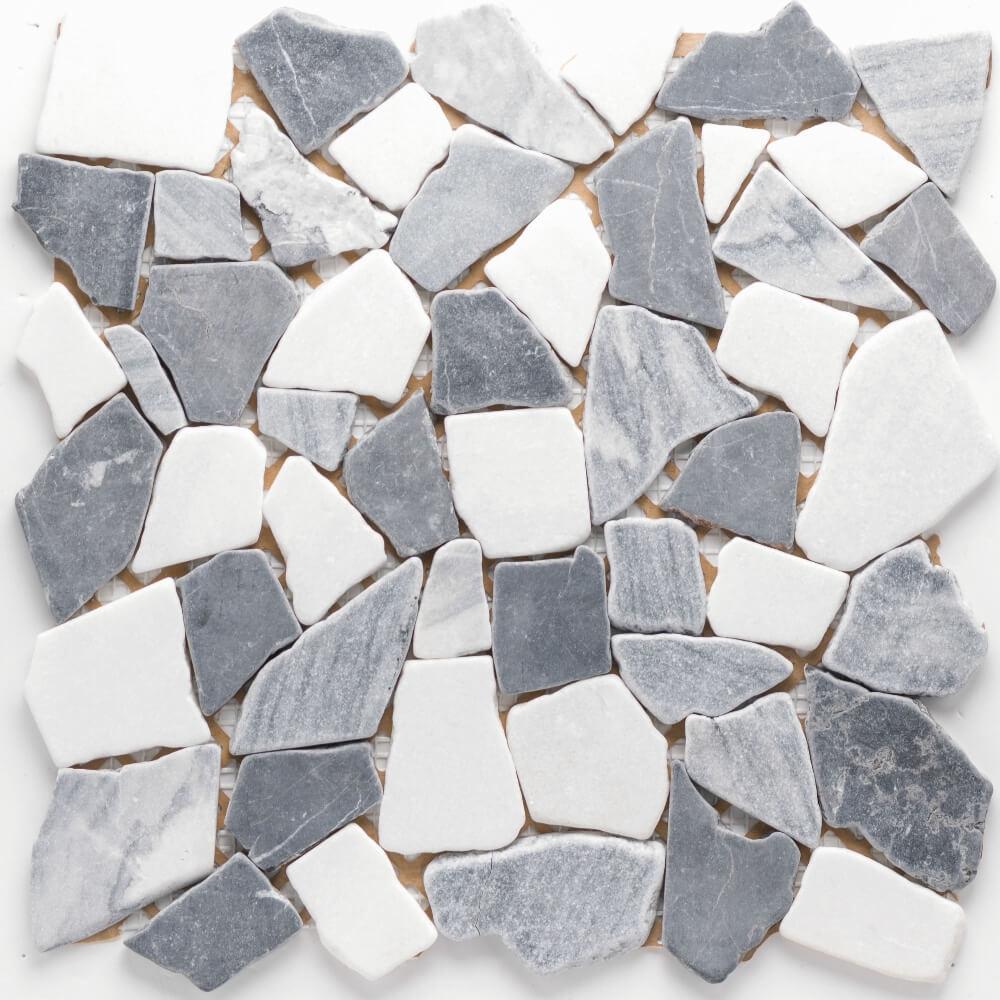 Natursteinmosaikfliesen Poly Grey - Marquina Matt für die Wand 30,5 x 30,5 cm - Interio
