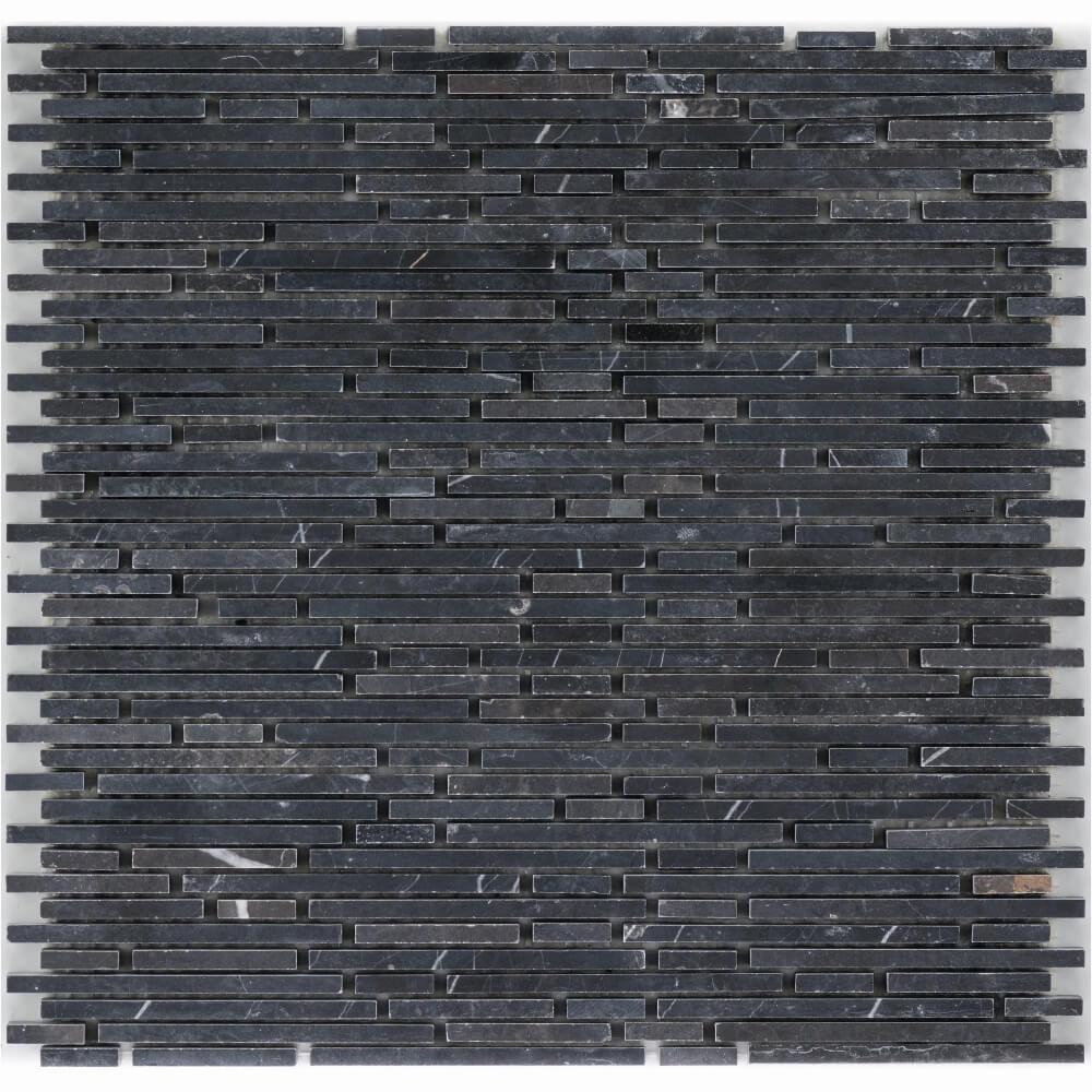 Natursteinmosaikfliesen Negro Glacia Superslimbrick Gesägt Matt für die Wand 30,5 x 30,5 cm - Interio