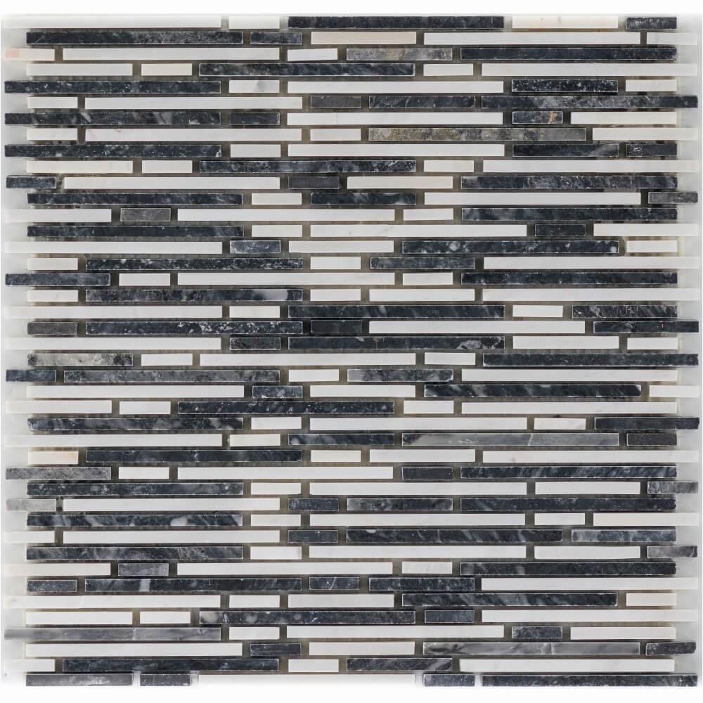 Natursteinmosaikfliesen Mix Negro Glacia-Carrara Superslimbrick Gesägt Matt für die Wand 30,5 x 30,5 cm - Interio