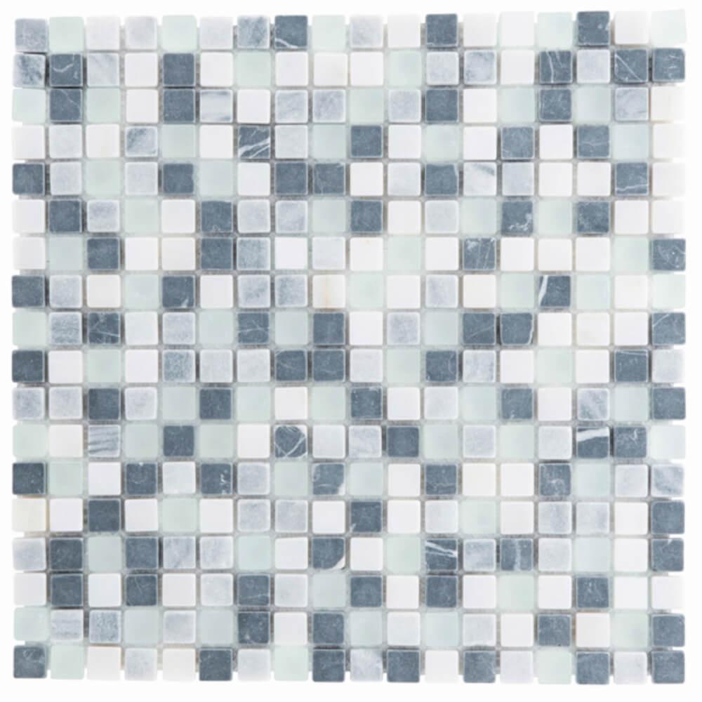 Kombimosaikfliesen Marmor Weiß Grau Schwarz - Glas Weiß Matt für die Wand 30 x 30 cm - Interio