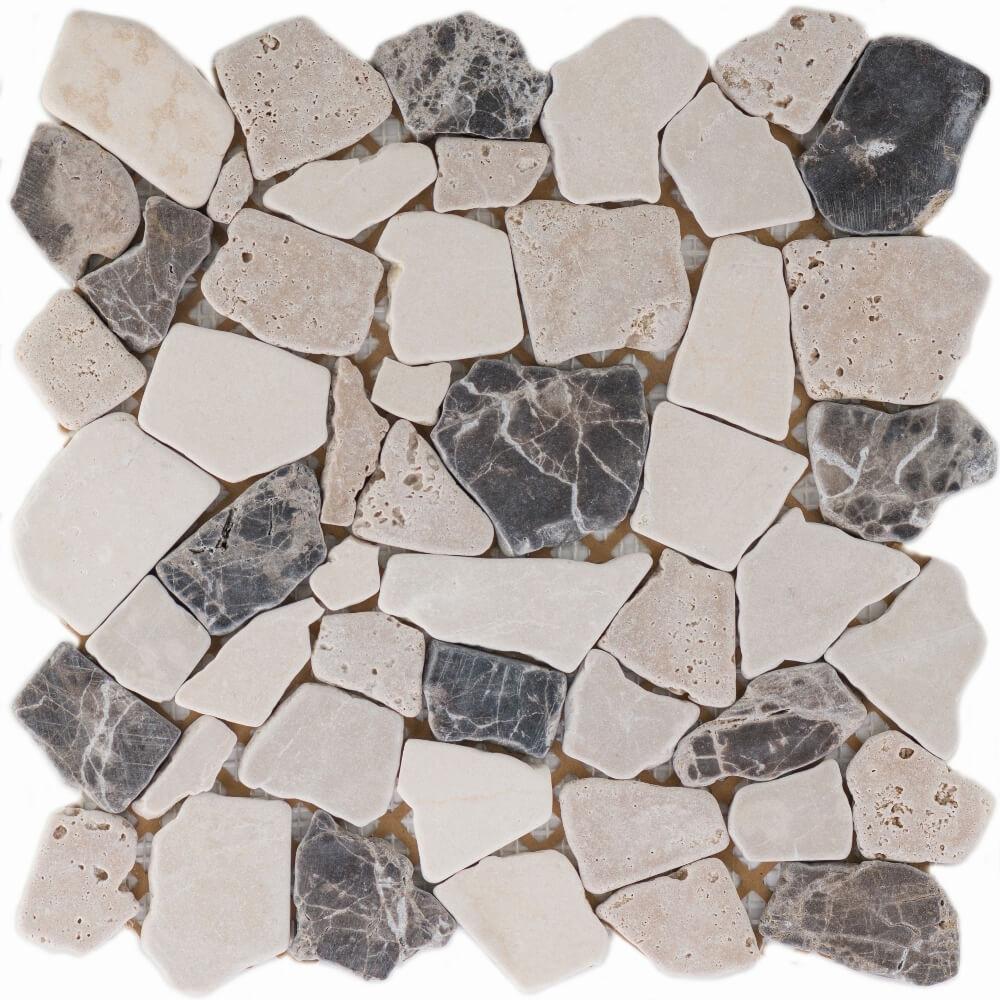 Natursteinmosaikfliesen Poly Biancone - Emperador Matt 30,5 x 30,5 cm - Interio