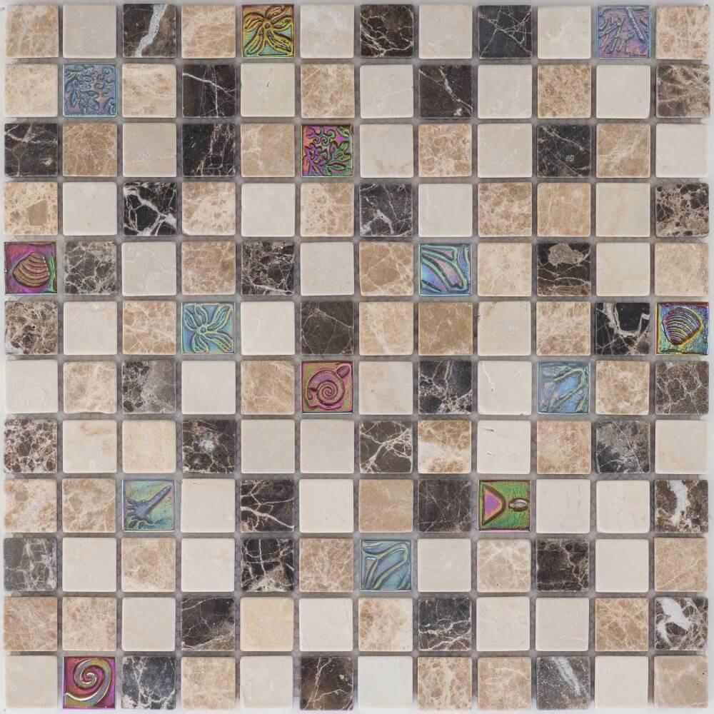 Kombimosaikfliesen Marmor Java Beige - Glas Relief Matt für die Wand 30 x 30 cm - Interio