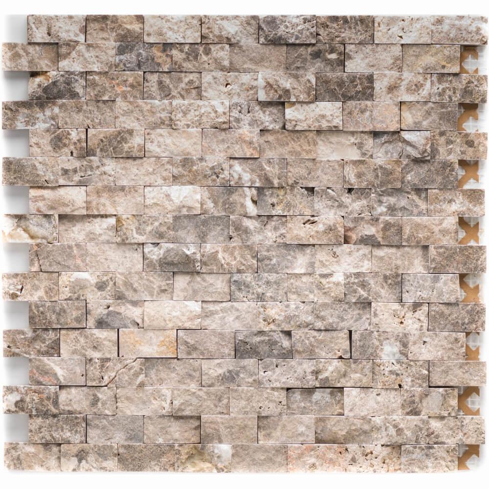 Natursteinmosaikfliesen Marron - Emperador Dark Brick Spaltrauh Matt für die Wand 32 x 32 cm - Interio