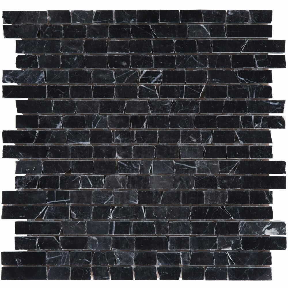 Natursteinmosaikfliesen Nero Marquina Brick Poliert für die Wand 30,5 x 30,5 cm - Interio