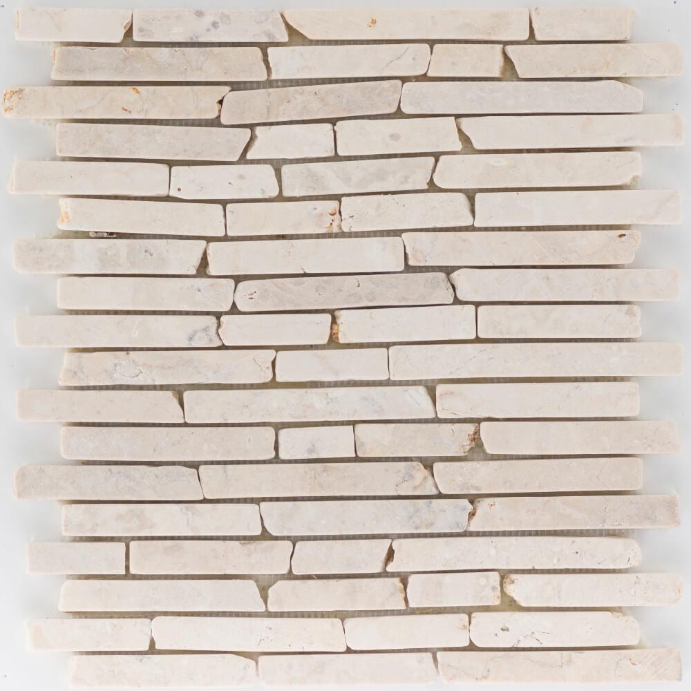 Natursteinmosaikfliesen Sunny Beige Slimbrick Getrommelt für die Wand 30,5 x 30,5 cm - Interio