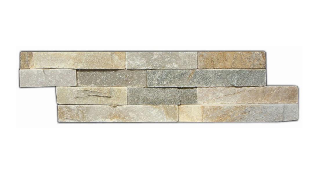 Frontansicht von Wandverblender Beige Matt 40 x 10 cm Naturstein - Interio