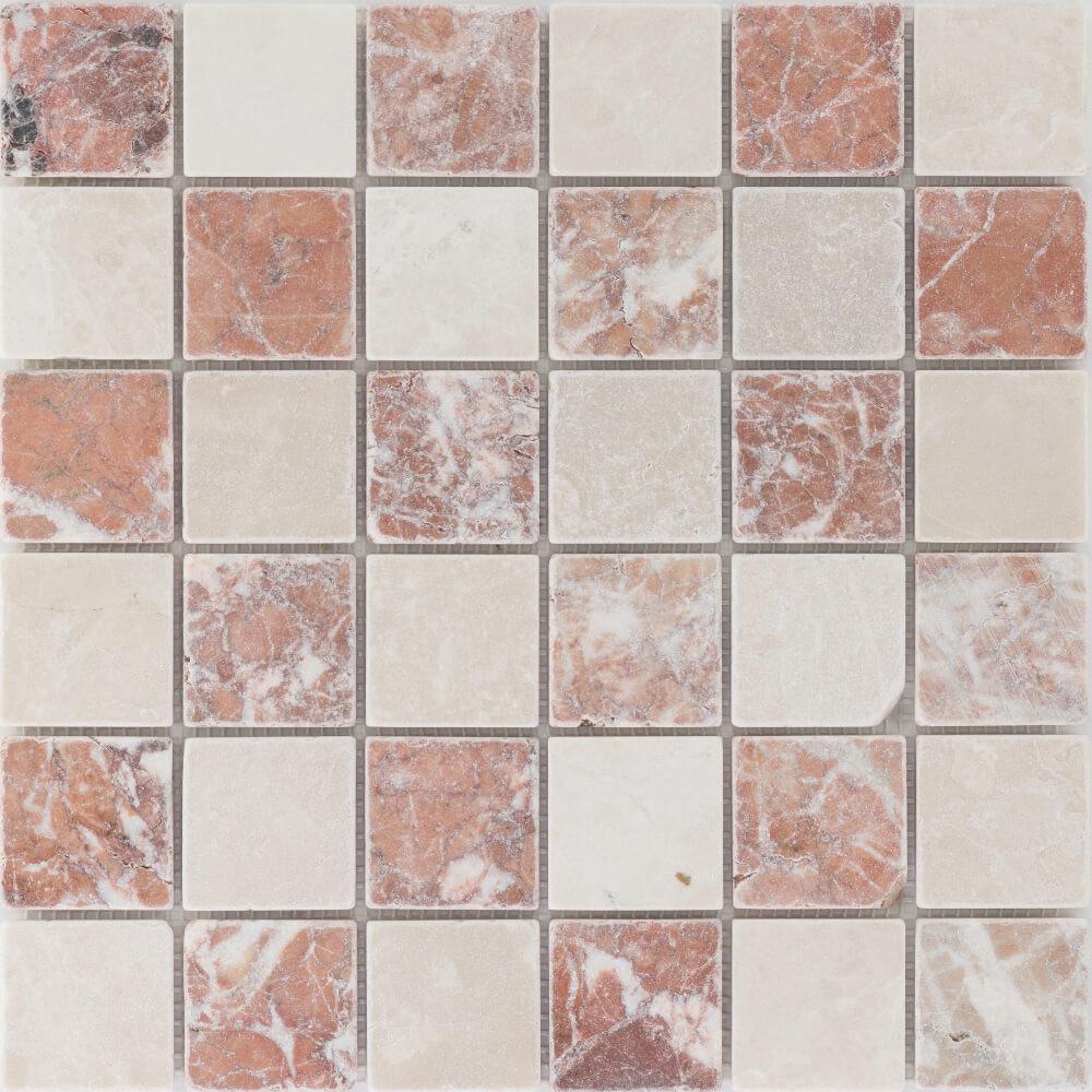 Natursteinmosaikfliesen Verona Travertin - Rosso Crema Getrommelt für die Wand 30,5 x 30,5 cm - Interio