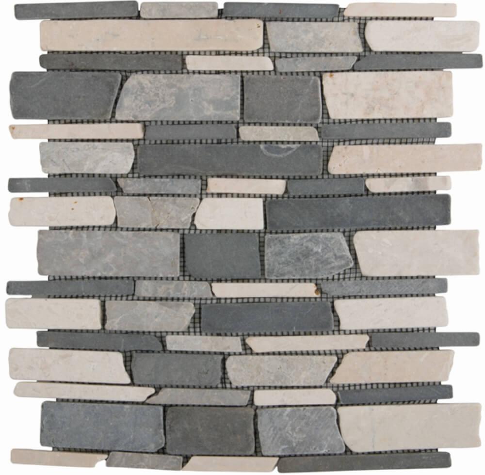 Natursteinmosaikfliesen Mix Black Grey Creme Getrommelt 3-Bahn für die Wand 28,5 x 30,5 cm - Interio