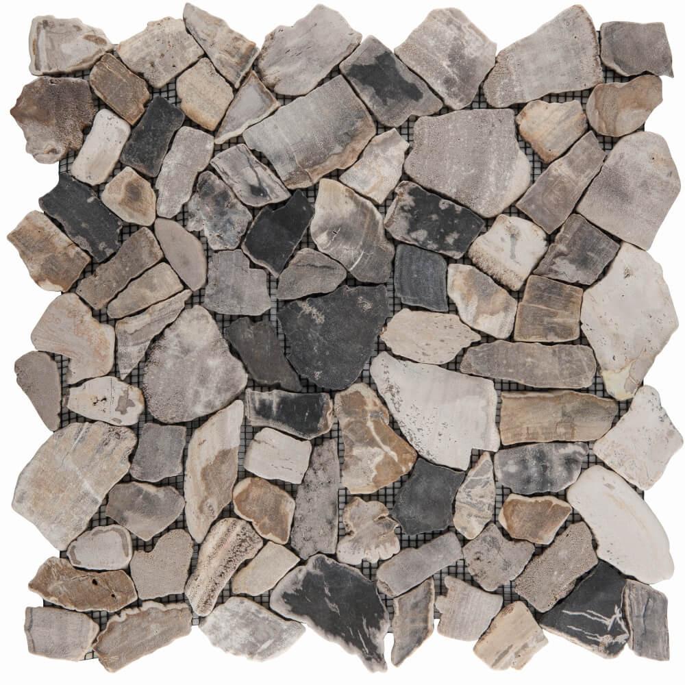 Natursteinmosaikfliesen Poly Fossil Wood Matt 30,5 x 30,5 cm - Interio