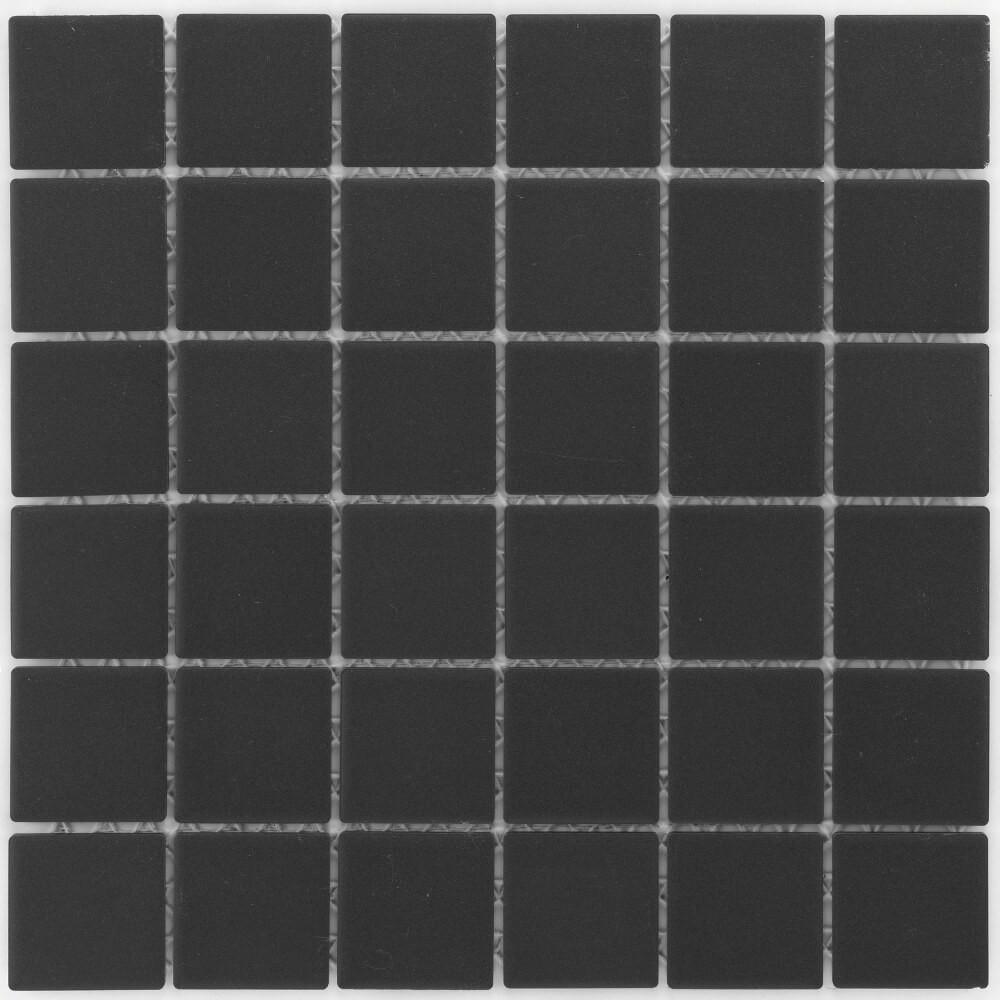 Keramikmosaikfliesen Black Matt für Boden und Wand 29,1 x 29,1 cm - Interio