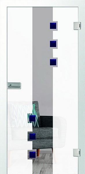 Davida 2 Glastür mit Motiv matt & Facettenglas blau einseitig - Erkelenz