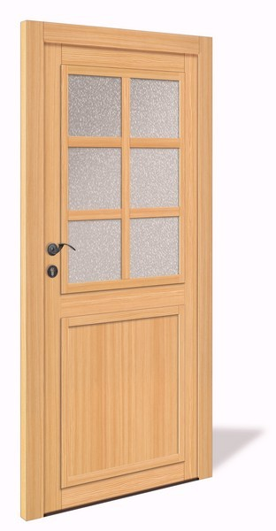 NET 1064 Holz Nebeneingangstür mit Glasausschnitt - Interio