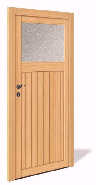 NET 1069 Holz Nebeneingangstür mit Glasausschnitt - Interio