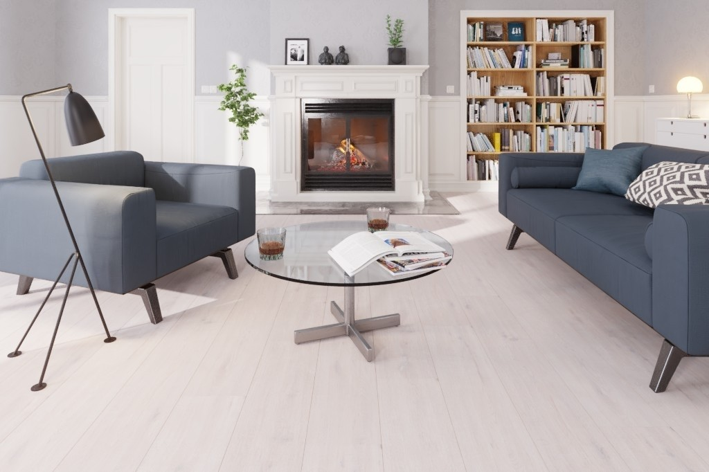 Eiche arcticweiss 1-Stab Designboden Premium Meister Design. flex DD 400-6995 - Meister Milieu Kamin