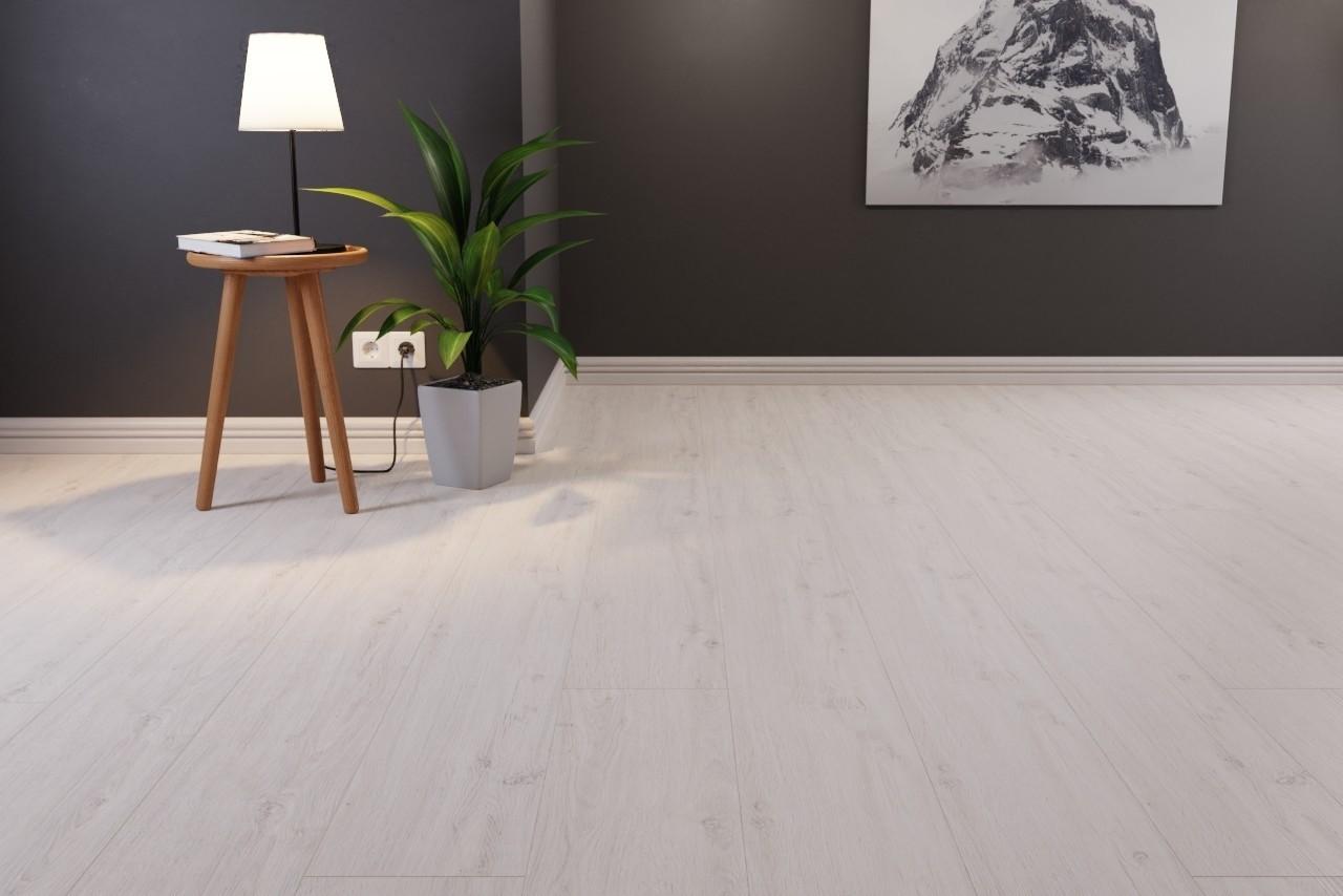 Beliebt Bodenkomplettset Eiche Weiß Langdiele Big Block Laminat - Interio XW67