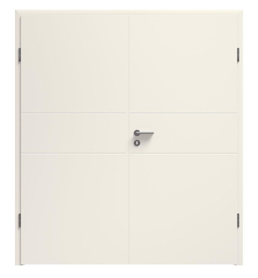 Linea 04 Weißlack Premium Doppelflügeltür inkl. Zarge