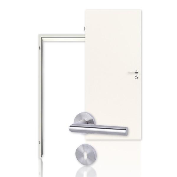 Innentür-Set Weißlack 9010 mit Zarge und Drücker