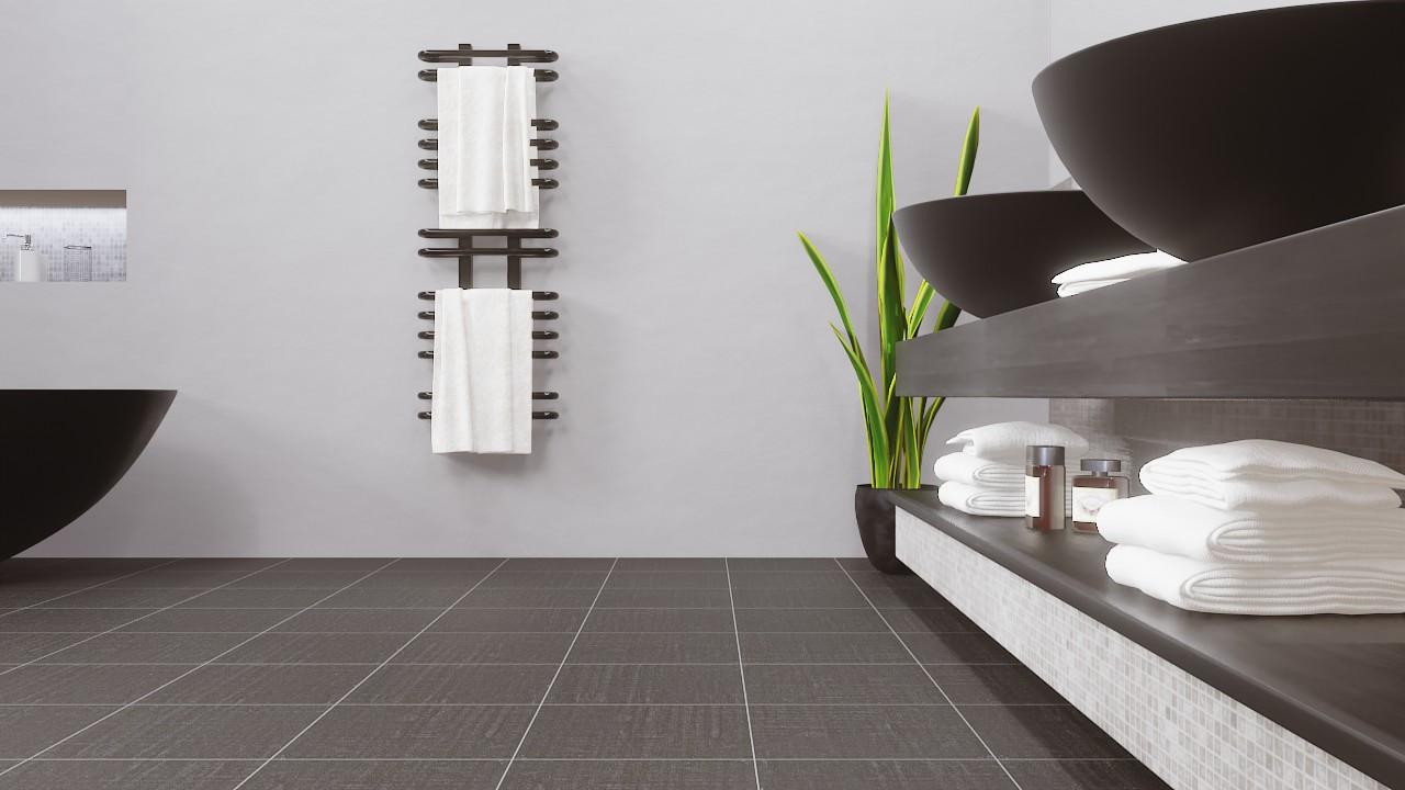 Milieubild Perspektive Badezimmer Modern mit Waschtisch mit Bodenfliesen Graphite Matt Dalia 33,3 x 33,3 cm Feinsteinzeug - Ceramika Konskie