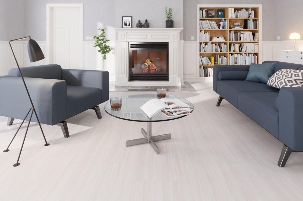 Stein Turin Weiss J02 Stein-Fliesenoptik Pro Vinylboden Stone Edition - ter Huerne Milieu Kamin
