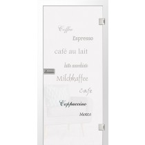 Cafe 2 Mattprint Glastür mit Motiv klar - Erkelenz