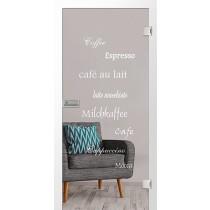 Cafe 2 Mattprint Glastür mit Motiv matt - Erkelenz