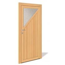 NET 1071 Holz Nebeneingangstür mit Glasausschnitt - Interio