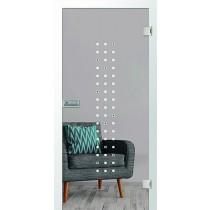 Gela Glastür mit Motiv matt & Glasapplikation grün einseitig - Erkelenz