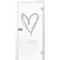 Heart Micromattprint Glastür mit Motiv klar - Erkelenz