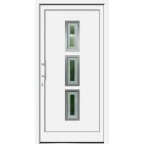 Weiße Basic Plus Kunststoff Haustür Heldan 6E Glas Havanna - Brand