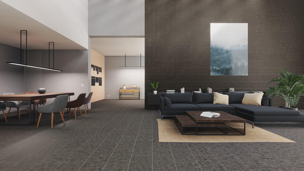 Boden- und Wandfliesen Anthrazit Matt Cement 30 x 60 cm Feinsteinzeug -  Interio