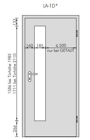 Turbo Pinie Hell Cross PiC 11 Typ LA-1D schlosseitig GetaLit Innentür ED88