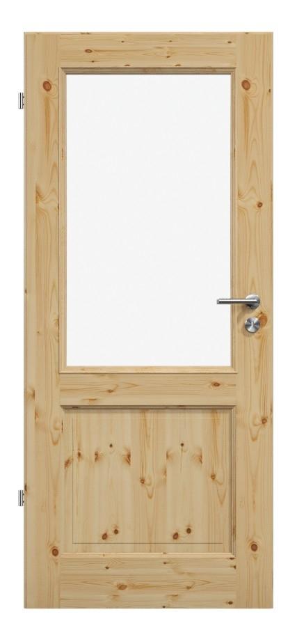 Holztür, Kiefer, Klarglas, Kassettentür, Landhaustür, Bawo, Füllungen, zwei, Glas, Lichtausschnitt