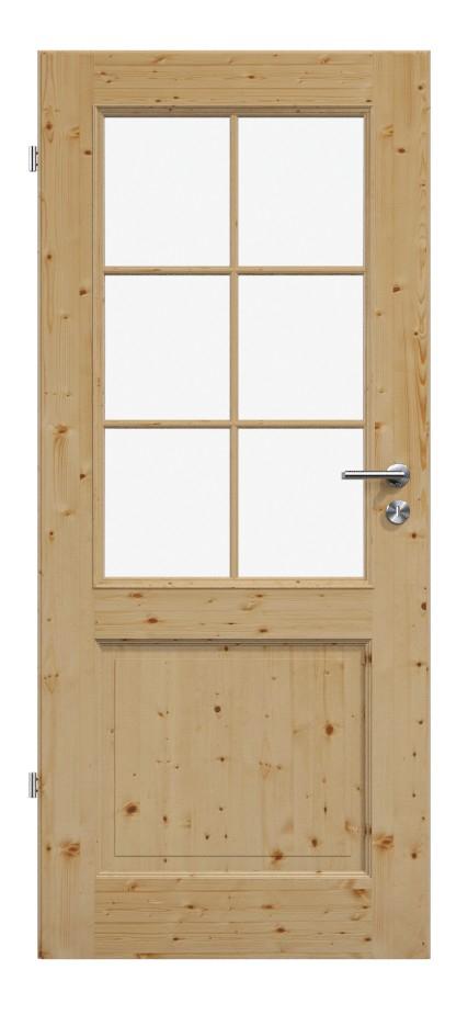 Elegante Massivholztür, Massivholztür, Holztüren, Landhaustür, 2, zwei, Kassetten, Füllungen, Fichte, astig, gebürstet, gewachst, Glasausschnitt, Glas, Lichteinsatz