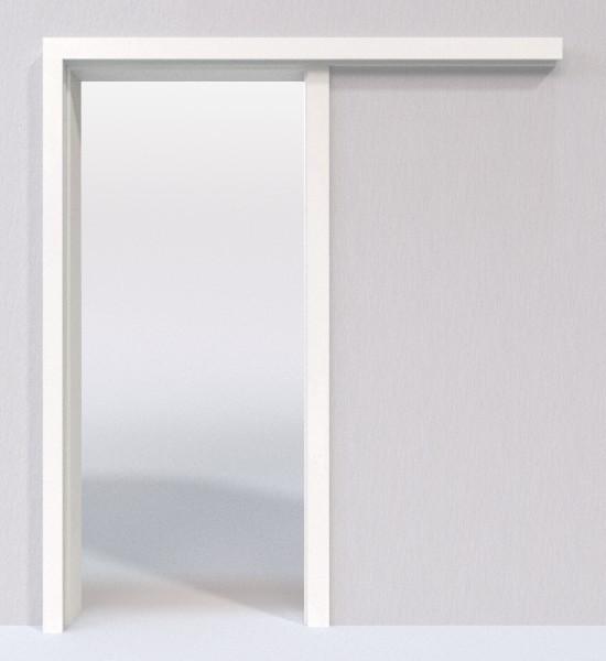 wei lack 9016 lack schiebet r system vor der wand laufend lebo deinet. Black Bedroom Furniture Sets. Home Design Ideas