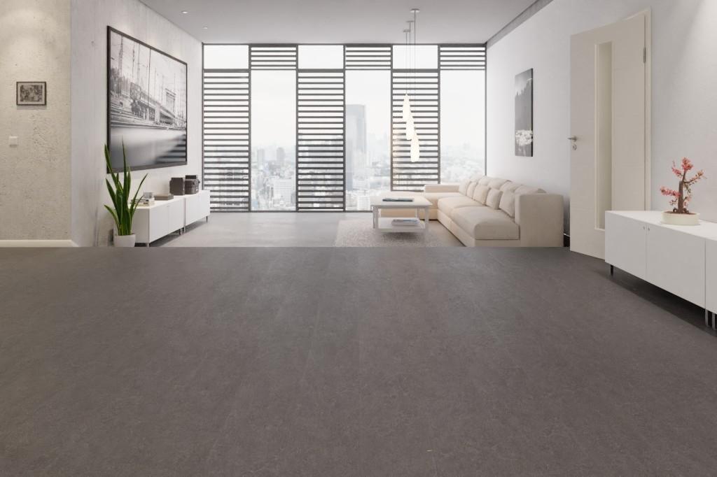 Fußboden Aus Linoleum ~ Schieferanthrazit linoleum boden premium inkl trittschalldämmung