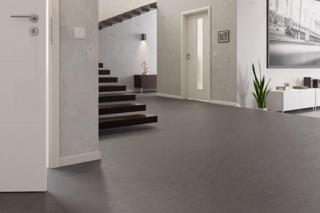 Fußboden Trittschalldämmung ~ Schieferanthrazit linoleum boden premium inkl. trittschalldämmung