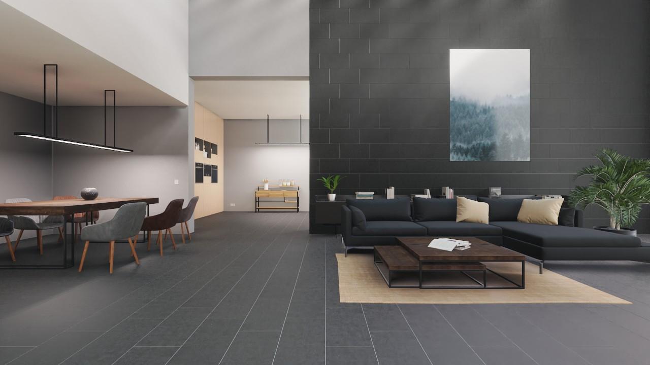Boden- und Wandfliesen Antracite Matt Kybos 7 x 7 cm Feinsteinzeug -  Interio