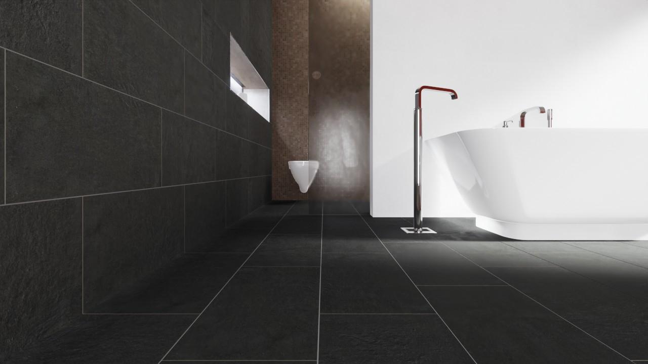 Boden- und Wandfliesen Antracite Matt Strukturiert City 11 x 11 cm  Feinsteinzeug - Interio