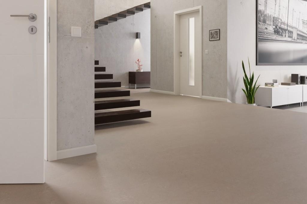 Fußboden Linoleum ~ Warmgrau linoleum boden premium inkl. trittschalldämmung puro lid