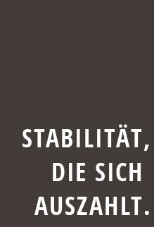 Schriftzug Stabilität die sich auszahlt