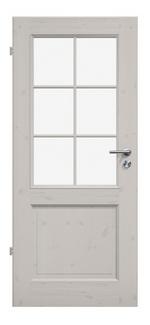 Kiefer, weiß pigmentiert lackiert, Landhaustür, Sprossenrahmen, Glaseinsätze