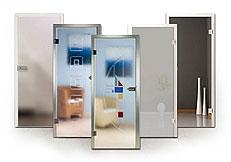 Ganzglas-Innentüren, Ornamentglas, Schmelzglas-Türen