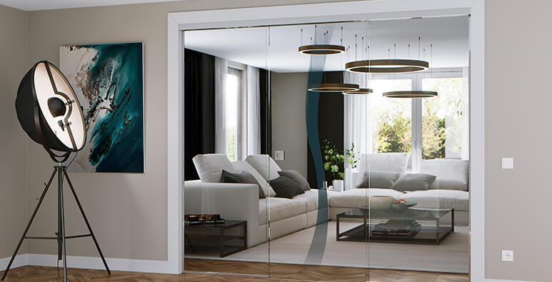 Ganzglasanlage im Wohnzimmer