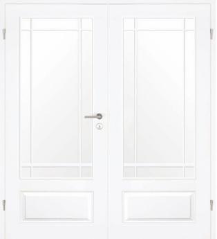 Lebo, Formelle, Doppelflügel-Tür, Weißlack, Lichtausschnitt, Sprossen
